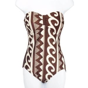 NWT Gottex Brown Pattern 1 Piece Bandeau Swimsuit
